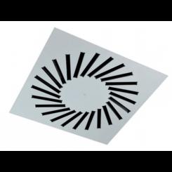 Štvorcový stropný difuzér s nastaviteľnými kovovými lamelami VWR-3A (RAL9016-kovový)