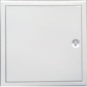 Revízne dvierka kovové biele H 200x200mm zatváranie štvorhran+plastový kľúčik