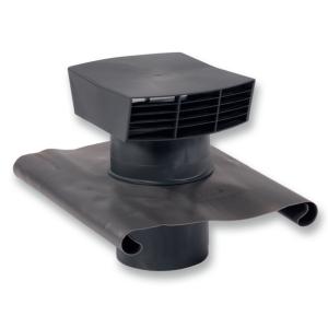 CTP - Strešný prechod plastový - 125mm - Čierna - Golier olovený